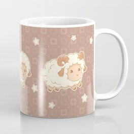 Cute Little Sheep on Brown Coffee Mug