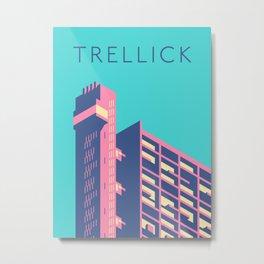 Trellick Tower London Brutalist Architecture - Text Sky Metal Print
