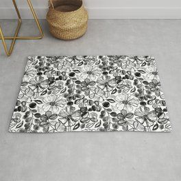 Black & White Painted Floral Rug