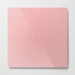 Classic White Mini Love Hearts on Bright Blush Pink Metal Print