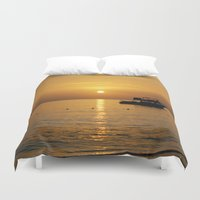 jamaica Duvet Covers featuring Sunset in Jamaica  by Jason Carnegie