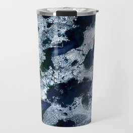 Oceans - Encaustic painting (blue, green, silver) Travel Mug