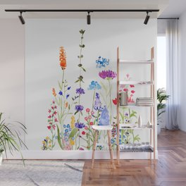 colorful wild flowers watercolor painting Wall Mural