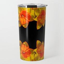 Ebony Black Night Golden Dafffodils Red Accents Travel Mug