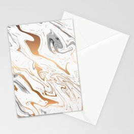 White royal golden abstract liquid marble texture Stationery Cards