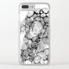 Watercolor abstract bubble splashing paint black gray ink isolated on white background Clear iPhone Case