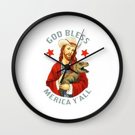 God Bless Merica Y'all Wall Clock