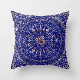 Ek Onkar / Ik Onkar Lapis Lazuli and Gold Throw Pillow