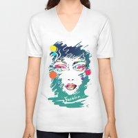 make up V-neck T-shirts featuring Make Up by Irmak Akcadogan