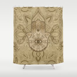 Hamsa Hand Hand of Fatima pastel brown Shower Curtain