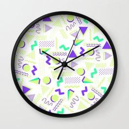 Lime green purple geometrical retro 80's modern pattern Wall Clock