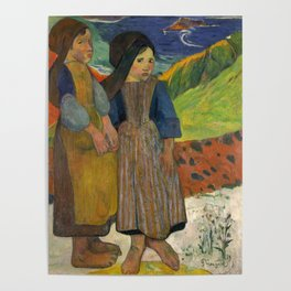 Two Breton Girls by the Sea by Paul Gauguin Poster