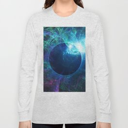 Abstract colorful shiny print graphic with planet space Long Sleeve T-shirt