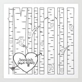 Bookish Love Affair Blk&Wht Art Print