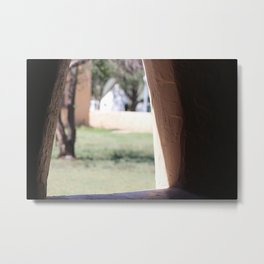 Stucco Window with View at Fort Stanton New Mexico Metal Print