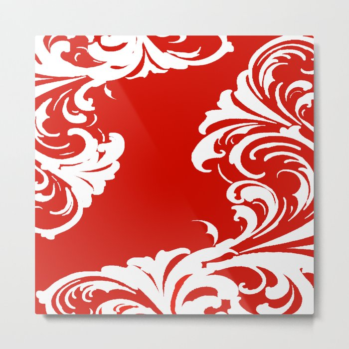 Damask Red and White Holiday Victorian Leaf Pattern Metal Print