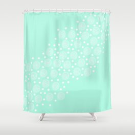 Circles in Circles on Pastel Teal Shower Curtain