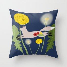 Leaping Fox Dandelions Folk Art Throw Pillow