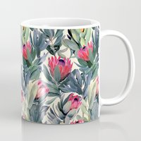 leaves Mugs featuring Painted Protea Pattern by micklyn