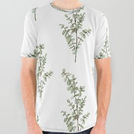 Baby Blue Eucalyptus Watercolor Painting All Over Graphic Tee