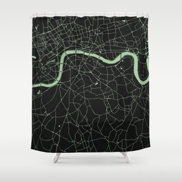 London Black on Green Street Map Shower Curtain