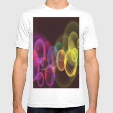 Rainbow Bubbles Design White Mens Fitted Tee MEDIUM