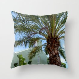 Grand Turk Palm and Building Throw Pillow