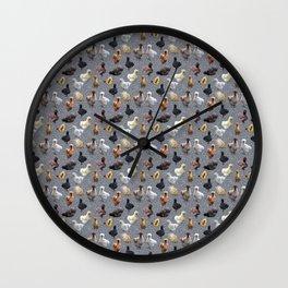 Silkie Bantams on Faux Silver Glitter Wall Clock