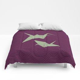 Origami paper cranes on purple waves Comforters