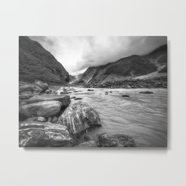 Franz Josef Glacier valley view in B/W from Waiho River with large boulders in the foreground. Metal Print