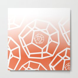 White Orange 3D Pentagon Metal Print