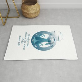 Slumber fish charms the waves of the moon tide Rug