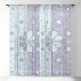 Tudor Rose Pastel Sheer Curtain