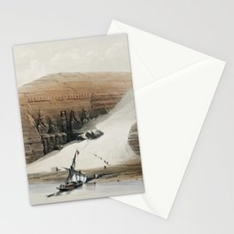 Excavated temples of Aboosimble (Abu Sunbul) Nubia  by David Roberts (1796-1864) Stationery Cards