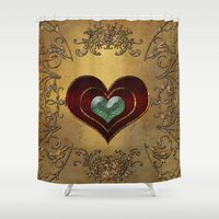 hearts Shower Curtains featuring Hearts by nicky2342