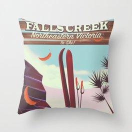 Falls Creek, Northeastern Australia Ski poster, Throw Pillow