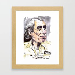 Charles Bukowski portrait in watercolor and ballpoint by McHank Framed Art Print