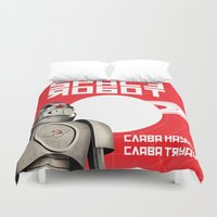 soviet Duvet Covers featuring Retro Soviet minimalism spacerobot   by Cardula