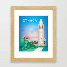 Ithaca, New York - Skyline Illustration by Loose Petals Framed Art Print