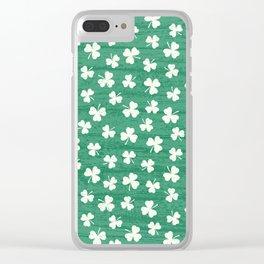 DANCING SHAMROCKS on green Clear iPhone Case