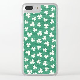 DANCING SHAMROCKS on green Clear iPhone Case