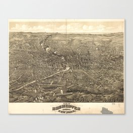 Vintage Pictorial Map of Rochester NY (1880) Canvas Print