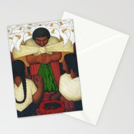 Calla Lilies in white Flower Vendor at the Flower Festival floral portrait painting by Diego Rivera Stationery Cards