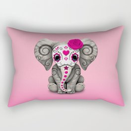 Pink Day of the Dead Sugar Skull Baby Elephant Rectangular Pillow