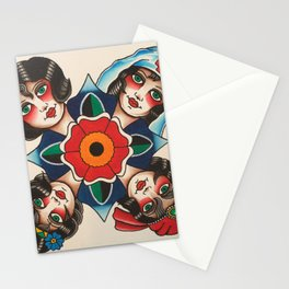 Traditional Tattoo Girl Heads Stationery Cards