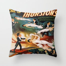 Vintage Magician Thurston Levitation Throw Pillow