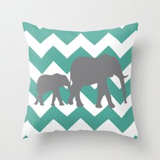Chevron Elephants (teal and grey) Throw Pillow