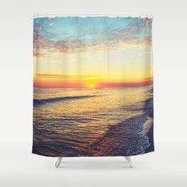 Summer Sunset Ocean Beach - Nature Photography Shower Curtain