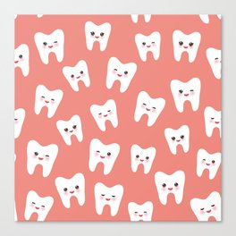 seamless pattern with cartoon white teeth with funny faces in pink background Canvas Print