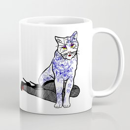 Porcelain Inked Cat Coffee Mug